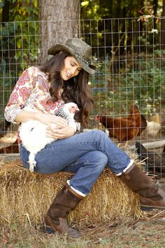 Stacy Harris with Chickens. www.gameandgarden.com #chickens