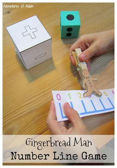 Gingerbread Man Number Line Game. Simple game to reinforce counting, addition and subtraction skills for young children.