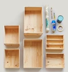 #Decorar con #cajas de #madera, #estantería #vintage