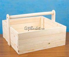 Реечный деревянный ящик с ручкой (38х38х15х21) арт. 7623