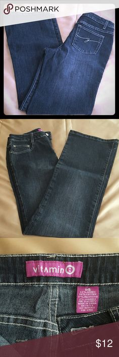 Vitamin  Z size 14 girl  jeans. Very nice washed  jeans in great condition the size  is a 14 girl  regular, not 14P . Vitamin  Jeans Straight Leg