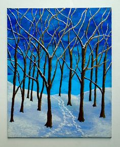 Winter Woods ORIGINAL ACRYLIC PAINTING 8 x 10 by by MikeKrausArt