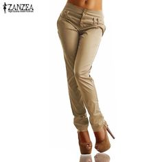b21713e5c9f Women Pants 2017 Hot Sale Autumn Ladies High Waist Buttons Zipper Solid  Long Trousers Casual Slim Pants Capris Plus Size