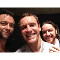 Hugh Jackman, Michael Fassbender, and James McAvoy. Dreams do come true!!!