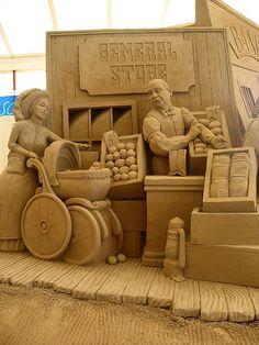 Festival of Sand Sculpture Lido de Jesolo. The theme was the Far West. Ice Art, Snow Sculptures, Snow Art, Grain Of Sand, Le Far West, Chalk Art, Art Festival, Wood Sculpture, Oeuvre D'art