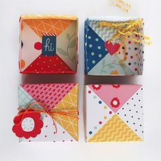 Make these gorgeous origami paper patchwork lidded boxes for gifts or storage. Fun and easy. IM IN LOVE!!!