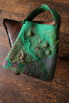 https://flic.kr/p/88R3Ya | Nuno Felted Bag | merino wool, sari silk, magnet button, taffeta