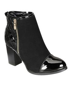 Another great find on #zulily! Black Cap Toe Kayla Bootie #zulilyfinds