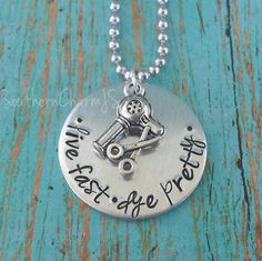 live fast dye pretty hand stamped necklace or key chain for hairstylist / hair dresser / cosmetology or beauty school student on Etsy, $18.00