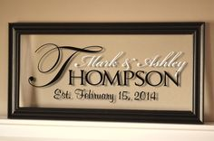 Would love this in my hallway! Personalized Family Name Sign Picture Frame by mrcwoodproducts, $38.00