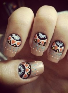 65 Colorful Tribal Nails Make You Look Unique cute indian nail art, will try this week! Fabulous Nails, Perfect Nails, Gorgeous Nails, Pretty Nails, Indian Nail Art, Indian Nails, Love Nails, How To Do Nails, Fun Nails