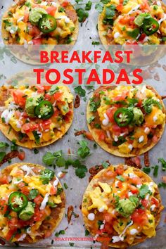 Huevos Rancheros Breakfast Tostadas is a great recipe for breakfast lunch or dinner. They're made with creamy refried beans fluffy scrambled eggs with melted cheese diced tomatoes diced onions guacamole sour cream cilantro and jalapeños. Vegetarian Breakfast, Breakfast Dishes, Breakfast Time, Healthy Breakfast Recipes, Brunch Recipes, Mexican Breakfast, Going Vegetarian, Brunch Menu, Vegetarian Dinners