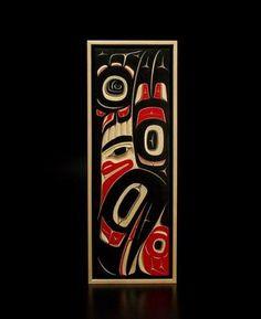 "Raven Panel Eugene Alfred Tutchone-Tlingit Yellow cedar carved panel 24.75"" x 9"" x 2"""
