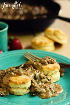 Biscuits with Sausage and Mushroom Gravy