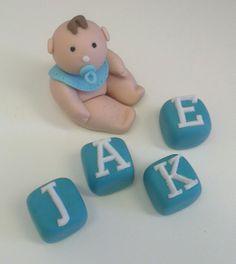 Baby boy fondant cake topper