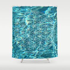 Flower of life in the water Shower Curtain Watercolor Feather, Watercolor Art, Flower Of Life, Bohemian Decor, Curtain Rods, Button Hole, Tapestry, Wall Art, Interior Design