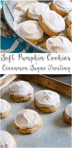 soft pumpkin cookies with cinnamon sugar frosting from @bakeat350