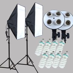 Photography Equipment 100-240v Four-Socket-Lamp-Holder With Continuous Lighting 50*70cm Softbox 2 pcs include 8pcs 150w Bulus