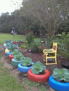 Garden tires - what a great way to add colour and fun to your garden. http://www.facebook.com/theglasshousenursery #recycle #tires #glasshousenursery