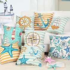 Rustic Retro Seashells Nautical Compass Anchorage Lighthouse Sailor Theme Fabric Throw Cushion Covers for Vintage Lovers Beach House Decor Sea Lovers Collection 45x45cm  ❤ Resellers Welcome ❤ Dropshipping Available ❤ Great as Gifts.  View more at spreesy.com/cookies