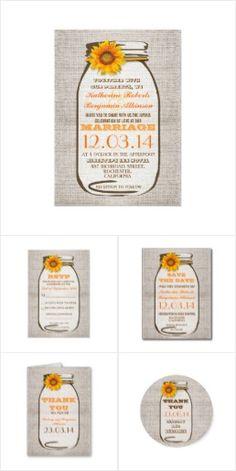 Sunflower Mason Jar Burlap Wedding Collection