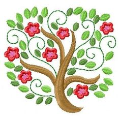 Attractive #Embroidery Design of Flowering Trees.