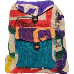 Baja Bags Hand Made Burlap Jute Backpack ❤ liked on Polyvore featuring bags, backpacks, accessories, backpack, purses, colorful bags, backpacks bags, flap backpack, flap bag i burlap bags