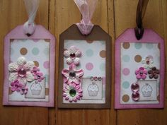 Pink+Chocolate+Mint+Polka+Dots+And+Flowers+Mini+Collage+Handmade+Gift+Tags+Set+One