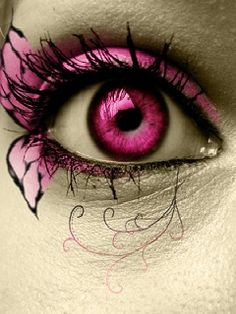 Pink butterfly gothic eye makeup