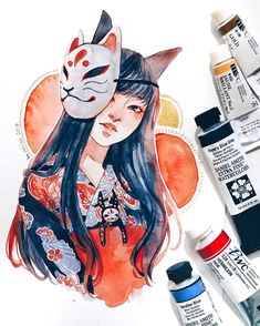 Art Auctions for Drawings – Viral Gossip Japanese Watercolor, Watercolor Girl, Watercolor Drawing, Watercolor Illustration, Japanese Art, Watercolor Paintings, Watercolor Artists, Japanese Style, Abstract Paintings