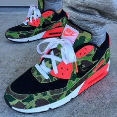 Air Max 90 Camo Duck Infrared with Infrared Lace Swap www.laceduplaces.com