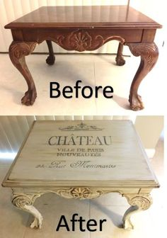 French shabby end table makeover before and after - DIY Möbel Refurbished Furniture, Paint Furniture, Repurposed Furniture, Furniture Projects, Furniture Makeover, Vintage Furniture, Table Furniture, Rustic Furniture, Unique Furniture