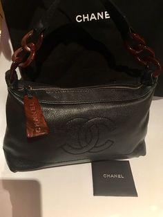 fb92decede9d Cc Caviar Wooden Look Lucite Chain Strap Shoulder Black Leather Hobo Bag