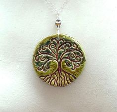 Tree of Life Ceramic Pendant Necklace Handmade in Olive Green, Cinnamon Brown & Emerald Green Fuzed Glass Glazes with Sterling Silver Chain