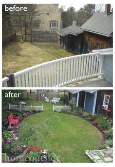 Backyard landscape - before and after. Photos courtesy of homeowners