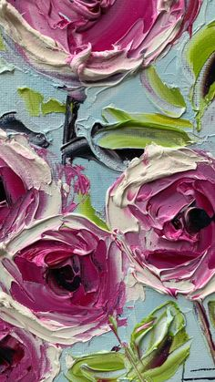 Contemporary flower painting and abstract floral art by artist Melissa McKinnon painted with palette knife and thick impasto texture. Abstract Tree Painting, Texture Painting On Canvas, Abstract Flower Art, Baroque Painting, Oil Painting Flowers, Roses Painting Acrylic, Matte Painting, Art Oil, Bunt