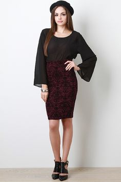 Ways will turn heads in this royal wine skirt this pencil skirt