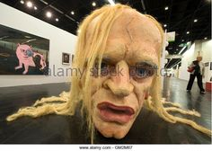 The sculpture 'nobody knows, what we feel'  by Paule Hammer from the eastern German city of Leipzig depicts late German actor Klaus Kinski at the Open Space Forum of the Art Cologne fair in Cologne April 22, 2009. Some 180 international exhibitors are taking part in the Cologne Art fair that runs from 22 to 26 April 2009.       REUTERS/Wolfgang Rattay   (GERMANY ENTERTAINMENT IMAGES OF THE DAY) - Stock Image