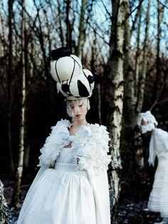 """Jewel In The Crown"" - Xiao Wen Ju in Comme Des Garçons, shot by Tim Walker for Vogue US (2012)"