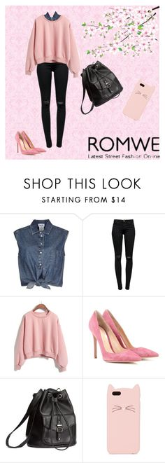 """""""ROMWE"""" by galpaian-elisa ❤ liked on Polyvore featuring Jean-Paul Gaultier, J Brand, Gianvito Rossi, H&M, Kate Spade, women's clothing, women, female, woman and misses"""