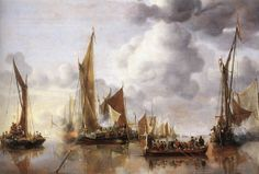 The State Barge saluted by The Home Fleet, Jan van de Capelle 1650