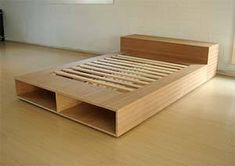 34 Lovely Diy Wooden Platform Bed Design Ideas, Whether your bed is put on the left or right side, or right in the middle of your bedroom, you want to correct the remainder of the furniture accordin. Wooden Platform Bed, King Platform Bed, Plywood Furniture, Pallet Furniture, Furniture Design, Bed Frame Design, Diy Bed Frame, Bed Frames, Plywood Bed Designs