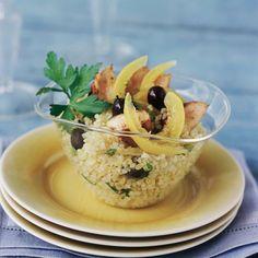 Découvrez la recette du taboulé au poulet, olives et citron confit
