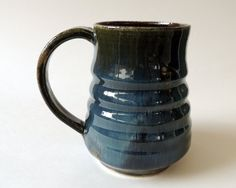 16oz Textured Blue and Green Mug Ceramic by PrimitivePots on Etsy, $25.00