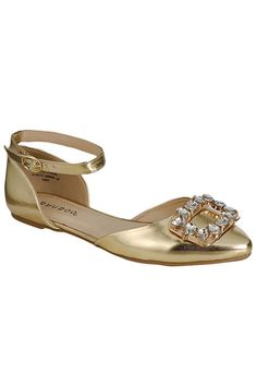 Bamboo - Object-52 Pointy Toe Flat in Gold