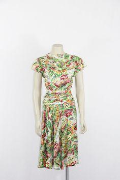1940s Vintage Dress  Watercolor Garden Novelty Print Biased cut $280.00 by VintageFrocksOfFancy