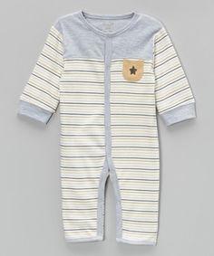 Another great find on #zulily! Gray & Tan Stripe Star Playsuit by René Rofé Baby #zulilyfinds