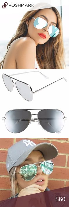 NWT Quay High Key Desi Perkins 62mm Aviator Silver Stop the show and keep it HIGH KEY. Designed in collaboration with Desi Perkins, this worldwide fan fave has turned the classic aviator on its head. Featuring an oversized metal frame with unforgettably chic flat reflective lenses, each color of HIGH KEY is a wardrobe essential.  #QUAYXDESI Color SILVER / SILVER limited edition womens sunglasses Categories 2 & 3. Width: 143mm. Height: 55mm. Nose Gap: 19mm. Quay Australia Accessories Glasses