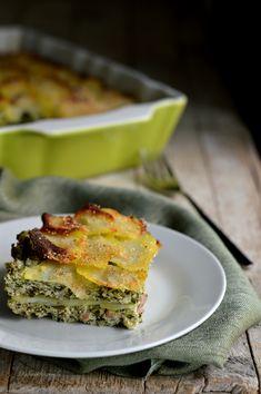 tortino di patate con ricotta e spinaci