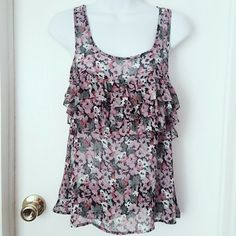 Sheer Xs Espress Flower Sleeveless Top